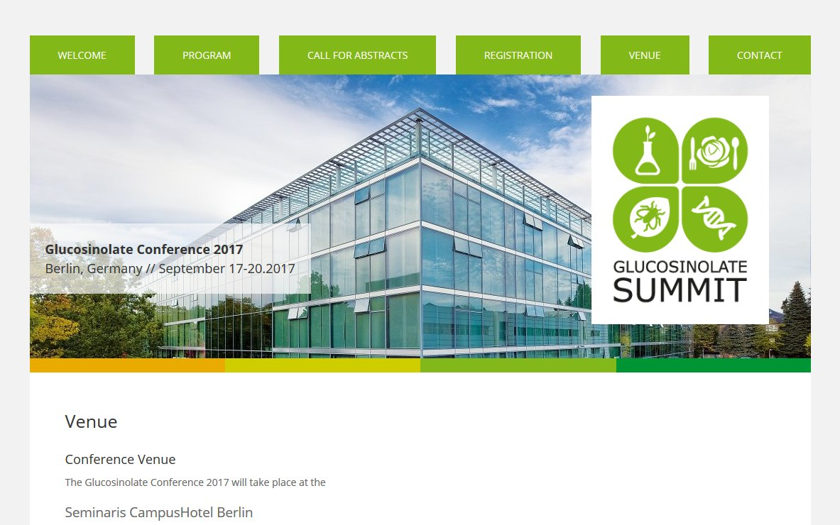 Website für die internationale Glucosinolate Conference 2017 mit CMS und Datenmanagement